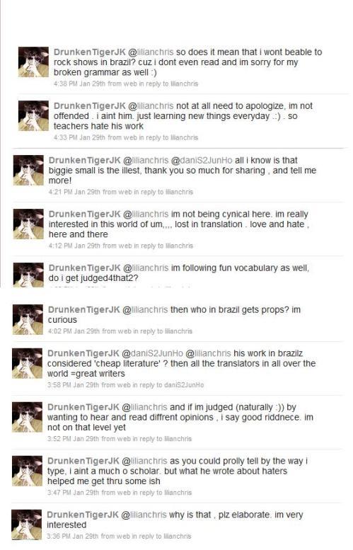 Replies do Tiger JK pra mim via Twitter